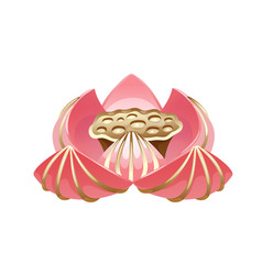 Pink bloom lotus with golden lines on petals vector