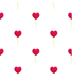 Pink heart balloon pattern seamless vector