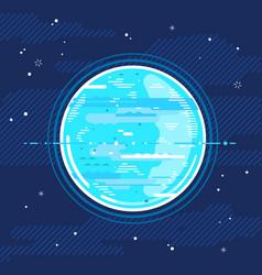 Planet uranus in space in flat style vector