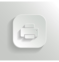 Printer icon - white app button vector image