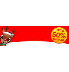 raindeer sales banner design - holiday greeting vector image