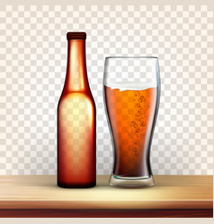 Realistic bottle and glass with bubble beer vector