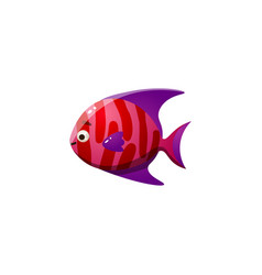 Red coral reef fish with a purple fin raster vector