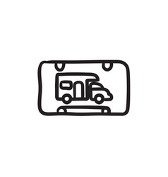 Rv camping sign sketch icon vector
