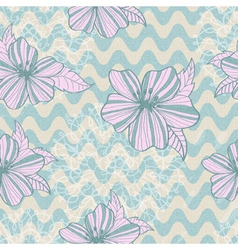 seamless retro background with flowers vector image