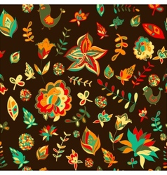 Seamless set multicolored retro flower pattern vector image