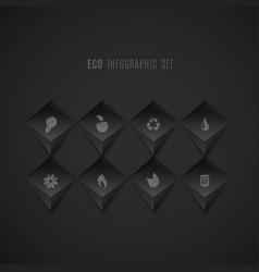 Set of ecology icons on dark abstract background vector