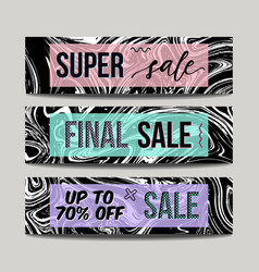 set with ink watercolor hand drawn marble sale vector image