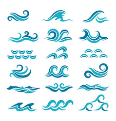 Silhouette of stylized blue waves isolate vector