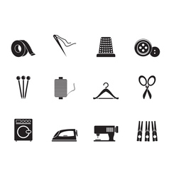 Silhouette Textile objects and industry icons vector image
