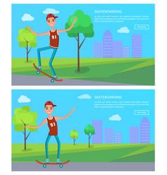 Skateboarder in city park buildings on backdrop vector