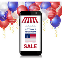 Smart phone with sale for veteran day message over vector