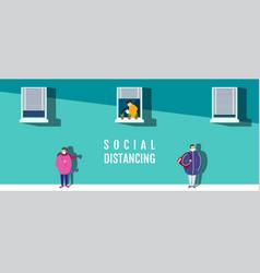 Social distancing concept people keeping vector