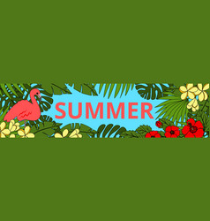 summer background with flamingo vector image