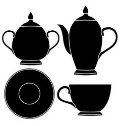 Tea set tableware icons vector