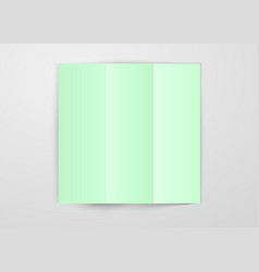 three times folded light green paper sheet placed vector image