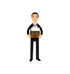 Unhappy businessman character leaving his work vector