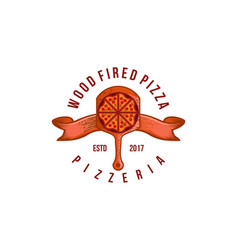 vintage wood fired pizza logo designs inspiration vector image