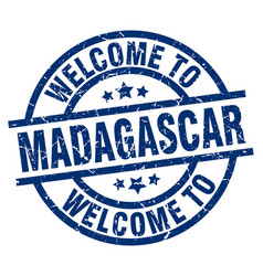 welcome to madagascar blue stamp vector image