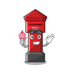 With ice cream pillar box sticks character vector