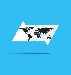 world map in triangle shape vector image