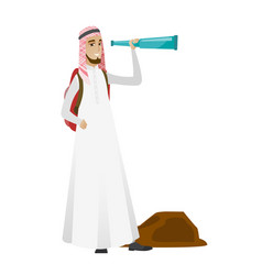 Young muslim traveler with spyglass vector