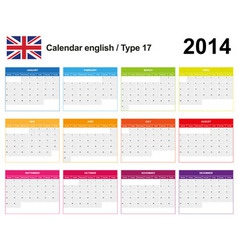 Calendar 2014 English Type 17 vector image vector image