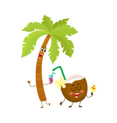 funny palm tree and coconut characters travelling vector image vector image