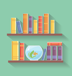 Home library flat Bookshelves with vector image vector image