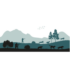 hunting the wolves black silhouette of hunters vector image vector image
