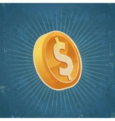 Retro Gold Dollar Coin vector image vector image