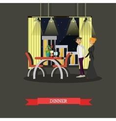 Romantic couple dinner in restaurant vector image vector image
