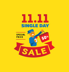 single day sale with one human hand hold vector image vector image
