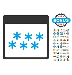Snowflakes Calendar Page Flat Icon With vector image vector image