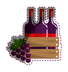 sticker bottles wine and grape icon vector image vector image