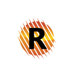 technology letter r vector image