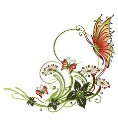 Tendril butterflies flowers vector image vector image