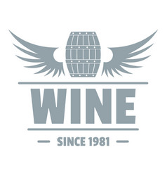 wine barrel logo simple gray style vector image