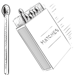 Matches and box sketch doodle icon vector image