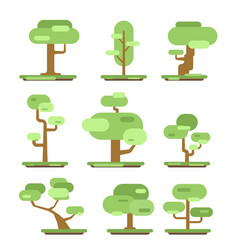 set of different trees sprites for the game vector image vector image