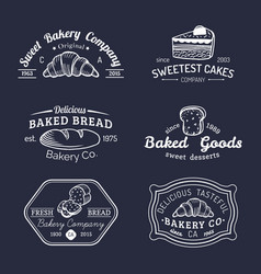 set of vintage bakery logos retro emblems vector image