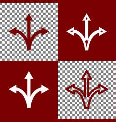 three-way direction arrow sign bordo and vector image