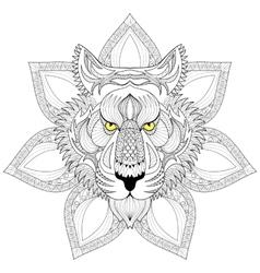 Tiger Zentangle Tiger face on mandala vector image vector image