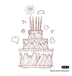 Birthday pie vector image vector image