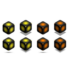 cube with sun in orange and yellow colors vector image