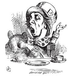 Hatter engaging in rhetoric Alice in Wonderland vector image vector image