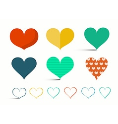 Hearts Set - Retro Heart Isolated on Light B vector image vector image