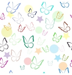 Seamless pattern with colorful hand drawn outline vector image