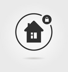 black locked house icon with shadow vector image vector image