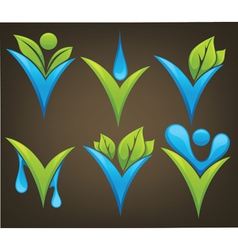 drop and leaves signs and marks vector image vector image
